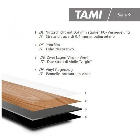 Pavimento in vinile Rovere Invecchiato Grigio, Plancia unica a 1228x188x2,5mm, PVC / LVT vinilico da incollare, TAMI – Immagine 3