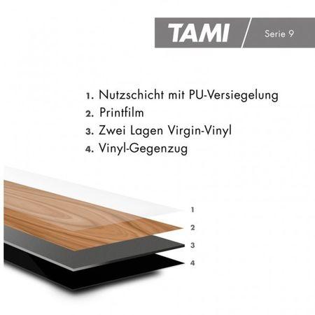 Stock di magazzino -50% Pavimento in vinile Rovere Affumicato, Plancia unica a 1228x188x2,5mm, PVC / LVT vinilico da incollare, TAMI – Immagine 3