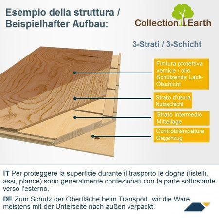 Parquet Pavimento in legno Rovere spazzolato verniciato Plancia unica a 3 strati 725x130x14mm Collection Earth Piccolo CE162 – Immagine 4