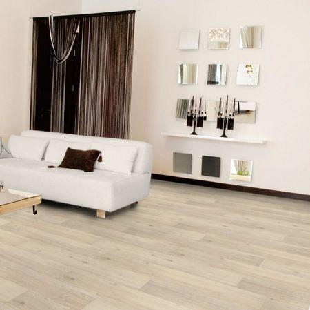 Pavimento in vinile Rovere Sbiancato, Plancia unica a 1220x180x5,5mm, strato di usura 0,5mm, pannello portante in SPC e materassino integrato, TAMI XTR