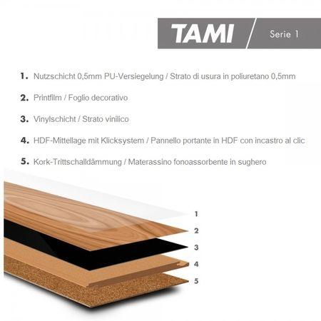 Pavimento in vinile Rovere Sbiancato, Plancia unica a 1210x180x8,5mm con pannello portante in HDF Click, TAMI XTR – Immagine 3