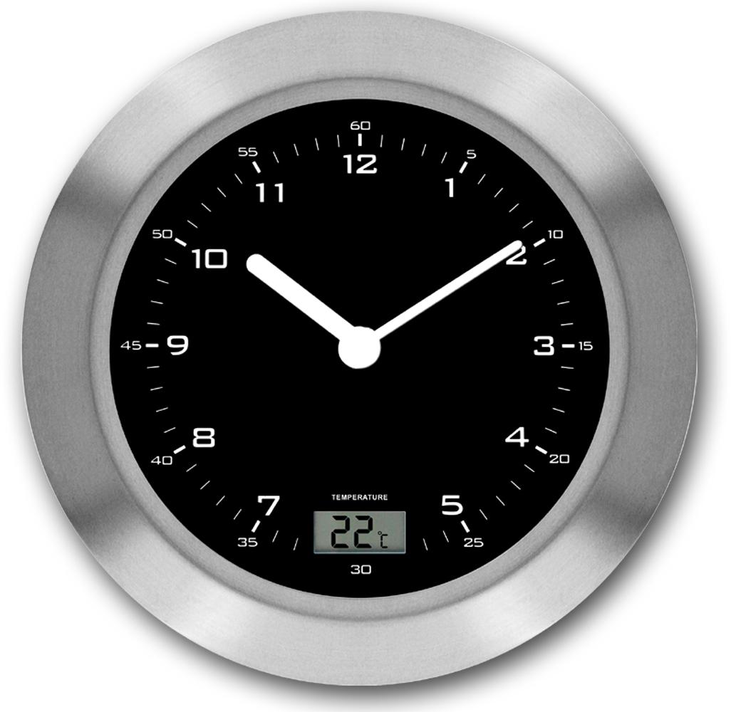 Funk-Wanduhr Badezimmer mit Temperaturanzeige, LAUTLOS  Zeit-Bar Handel  mit Zeit