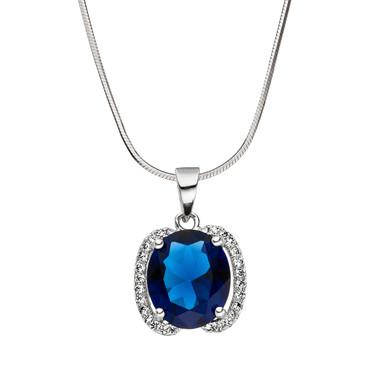 """Anhänger """"Angelika"""" 925 Silber Oval Zirkonia brillantschliff Blau  """"Saphir"""""""