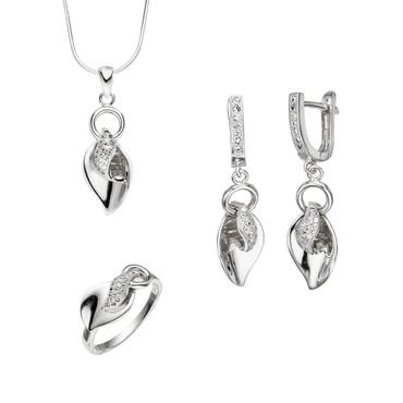 """Set """"Blütenblatt"""" 925 Silber Blütenblatt Form Anhänger Ohrringe Ring"""