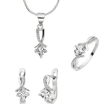"""Set """"Anastasia"""" 925 Silber Zirkonia brillantschliff in Weiß Anhänger Ohrringe Ring"""
