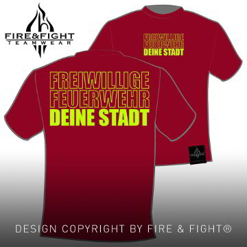 Klassik_Freiwillige-Feuerwehr-Ortsname-T-Shirt_rot_neongelb