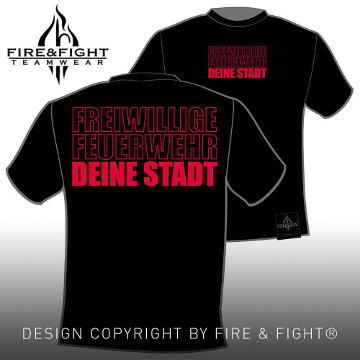 Klassik_Freiwillige-Feuerwehr-Ortsname-T-Shirt_black_rot