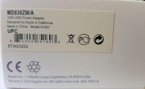 Original Blister 2x Apple MD836ZM/A USB Netzteil 12W, Reiseladegerät A1401, iPhone iPad iPod