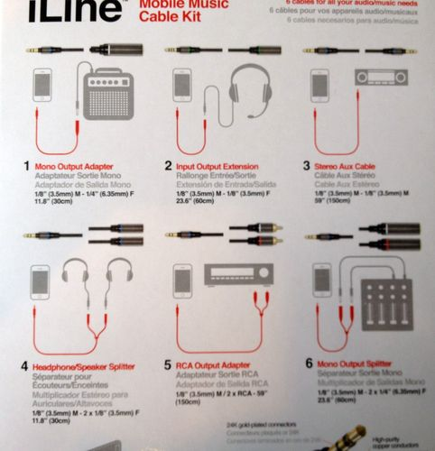 IK Multimedia iLine – Mobile Musik KIT Kabel 6 x 3,5mm auf AUX Splitter Adapter RCA