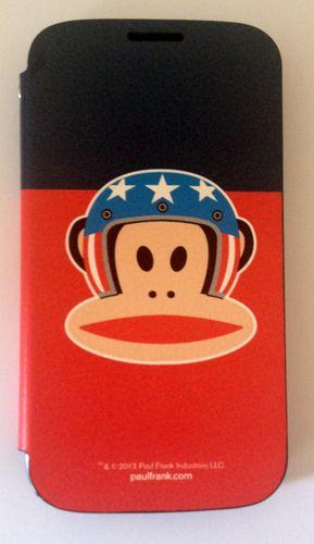 Original Paul Frank® Flip Tasche Cover Kunstleder für Samsung Galaxy S4 / LTE mit Design Helmet Blau