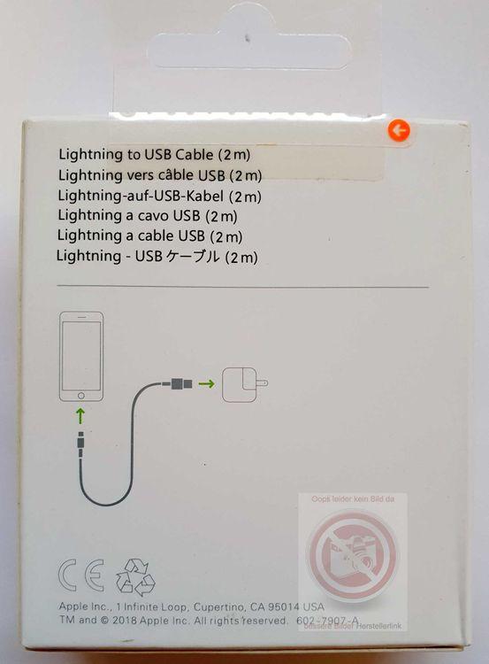 Original Retail Apple MD819ZM/A Lightning Ladekabel 2m, iPhone XS XR  X 8 7 6 / iPad iPod