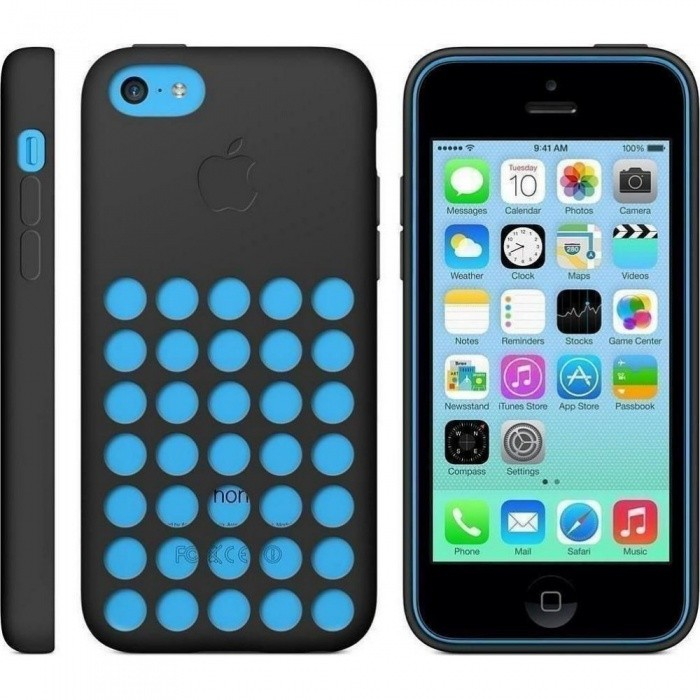 Apple MF040ZM/A Silikon Cover für iPhone 5c in Schwarz