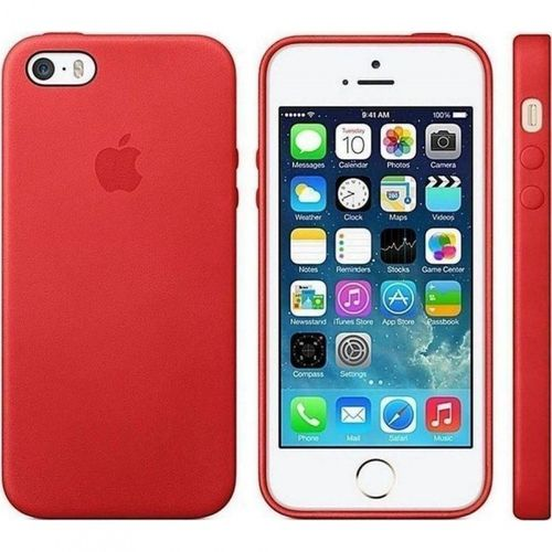 Apple MF046*/A Leder Cover Schutzhülle, iPhone SE 5 5S Rot