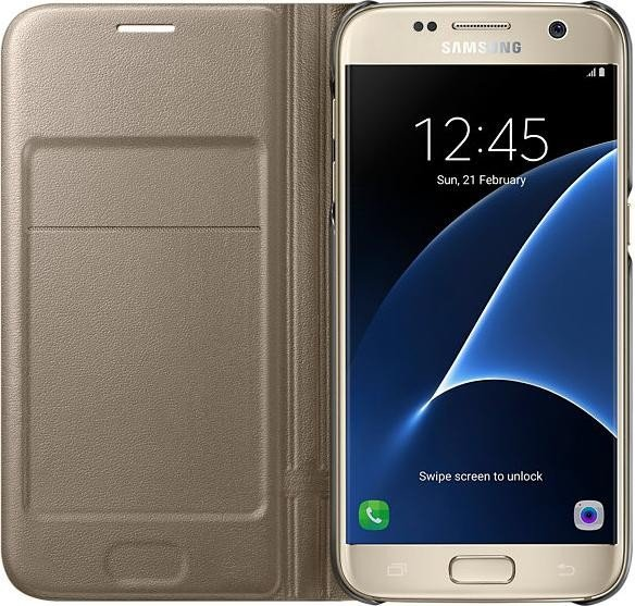 Samsung EF-NG930PFE LED View Book Cover Gold, Samsung G930F Galaxy S7