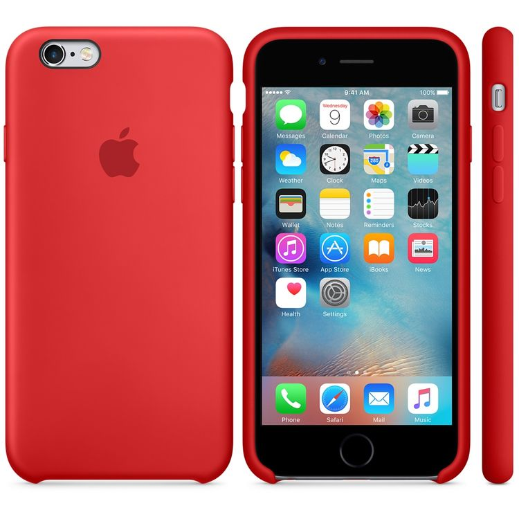 Apple Silikon Cover Hülle Mikrofaser für iPhone 6 6S rot