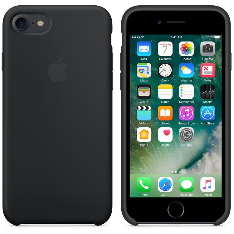 Originalverpackung Apple Silikon Mikrofaser Cover Hülle für iPhone 8 / 7 - Schwarz