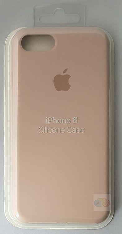 Originalverpackung Apple Silikon Mikrofaser Cover Hülle für iPhone 8 / 7 - Sandrosa