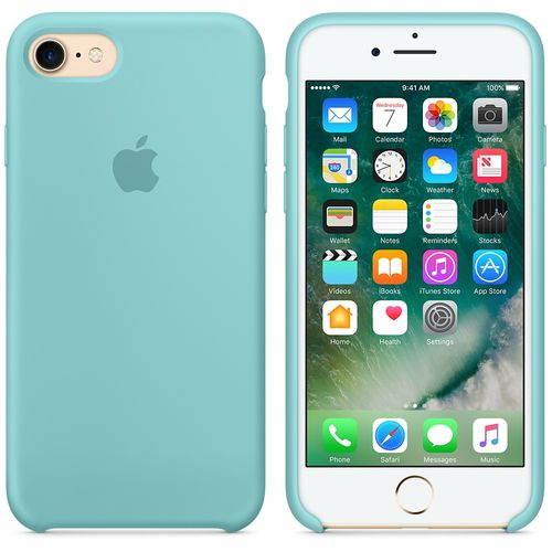 Originalverpackung Apple Silikon Mikrofaser Cover Hülle für iPhone 8 / 7 - Meerblau