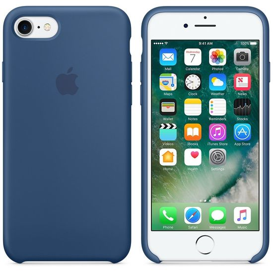 Apple Silikon Mikrofaser Cover Hülle für iPhone 7 - Oceanblau