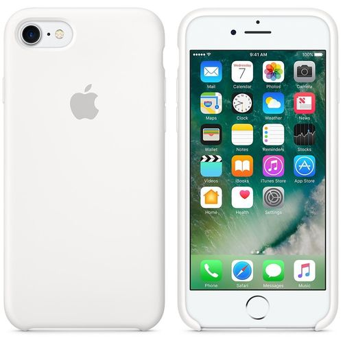 Apple Silikon Mikrofaser Cover Hülle für iPhone 8 / 7 - Weiss
