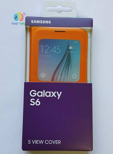 Original Samsung EF-CG920PO S-View Book Hülle Cover für Galaxy S6 orange