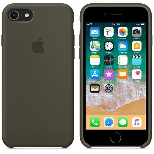 Originalverpackung Apple Silikon Mikrofaser Cover Hülle für iPhone 8 / 7 - Olivgrün