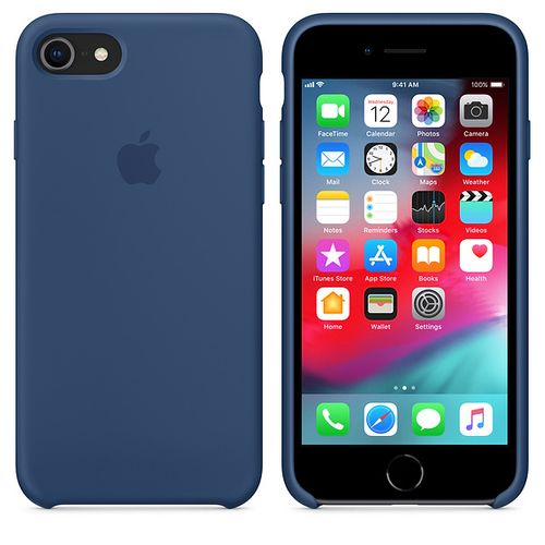 Originalverpackung Apple Silikon Mikrofaser Cover Hülle für iPhone 8 / 7 - Kobalt Blau