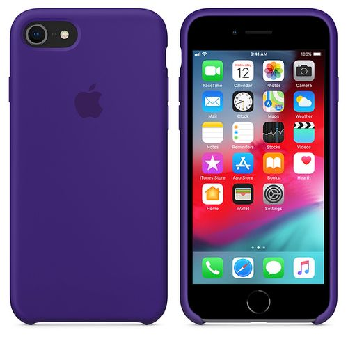 Originalverpackung Apple Silikon Mikrofaser Cover Hülle für iPhone 8 / 7 - Violett