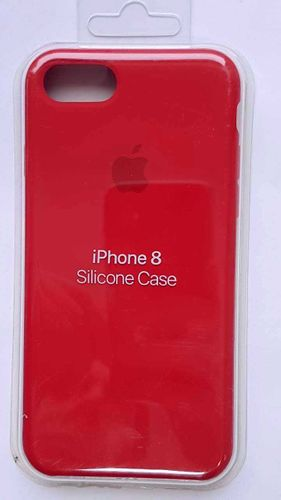 Originalverpackt Apple Silikon Mikrofaser Cover Hülle für iPhone 8 / 7 - Rot