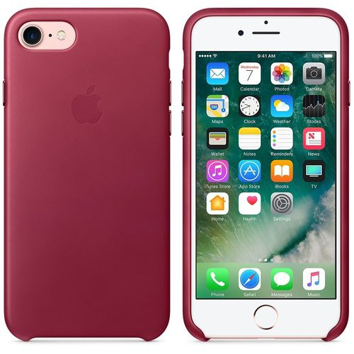 Apple MPVG2ZM/A echt Leder Cover für iPhone 7/8 in Dunkelrot Berry