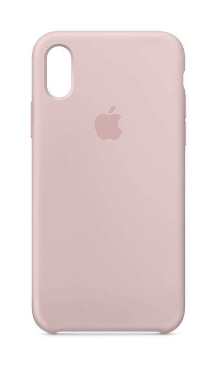 Originalverpackt MQT62Z Apple Silikon Mikrofaser Cover Hülle für iPhone X - sandrosa