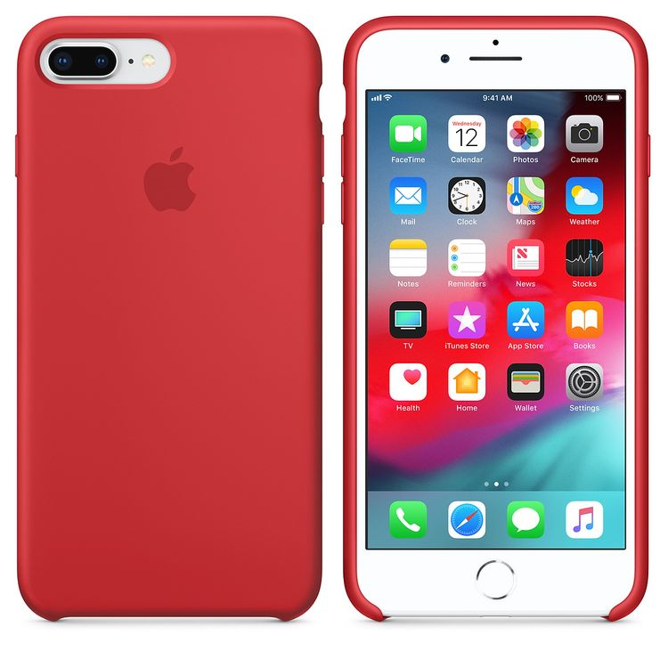 Originalverpackt Apple Silikon Mikrofaser Cover Hülle für iPhone 8+ Plus / 7+ - rot