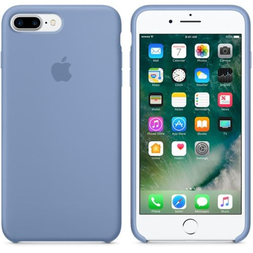 Originalverpackt Apple Silikon Mikrofaser Cover Hülle für iPhone 8+ Plus / 7+ - Azure Blau