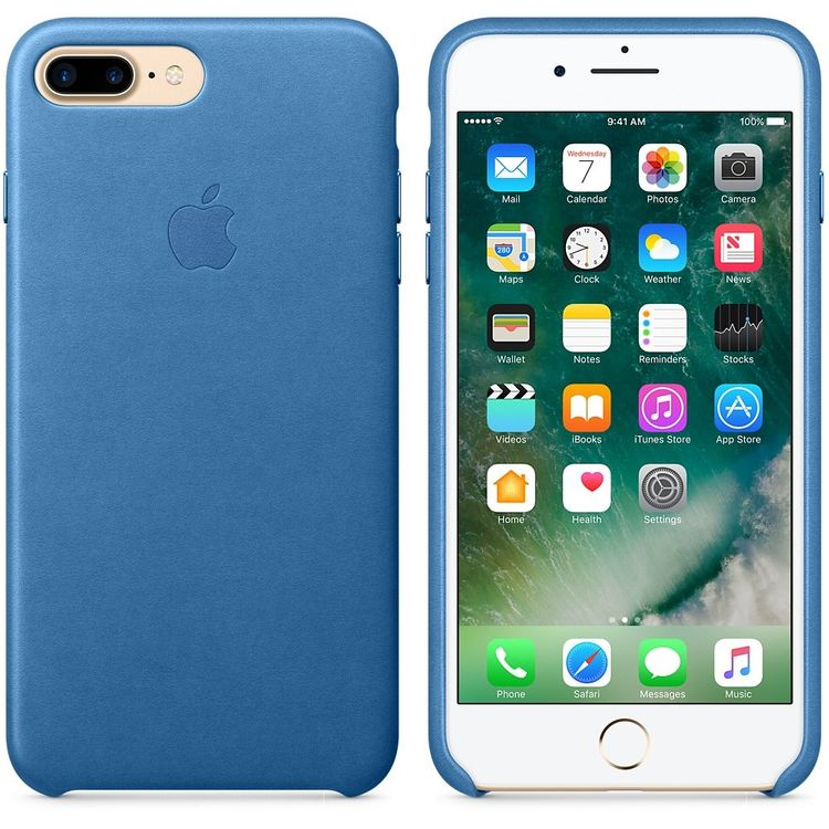 Originalverpackung Apple echt Leder Cover für iPhone 7/8+ Plus in sea Blau