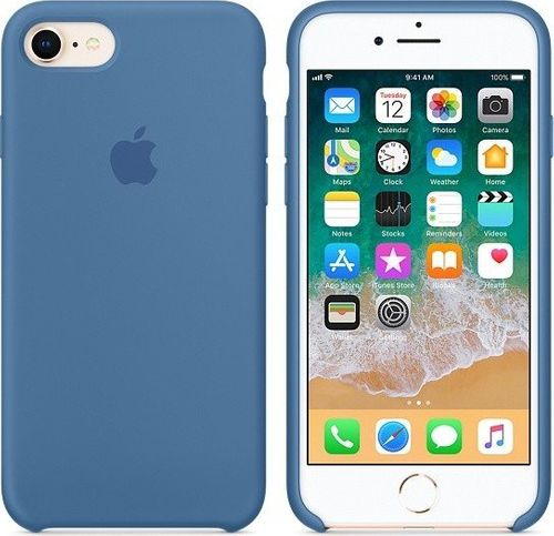 Originalverpackung Apple Silikon Mikrofaser Cover Hülle für iPhone 8 / 7 - Denim Blau