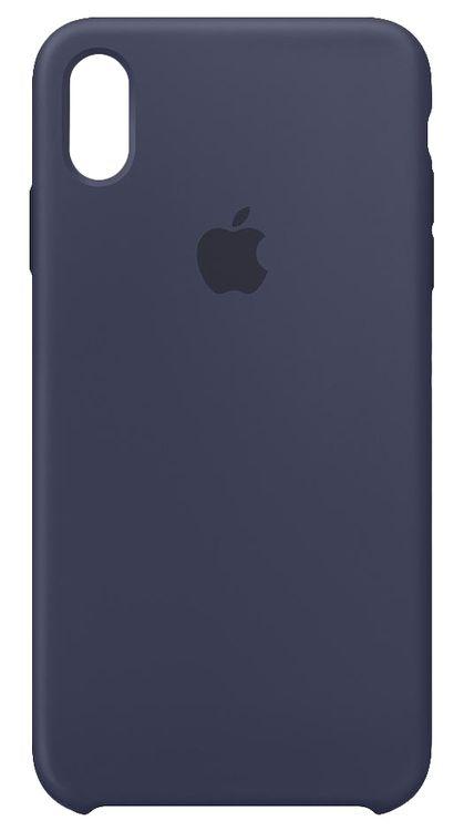 Originalverpackung Apple Silikon Mikrofaser Cover Hülle für iPhone XS Max - mitternachblau
