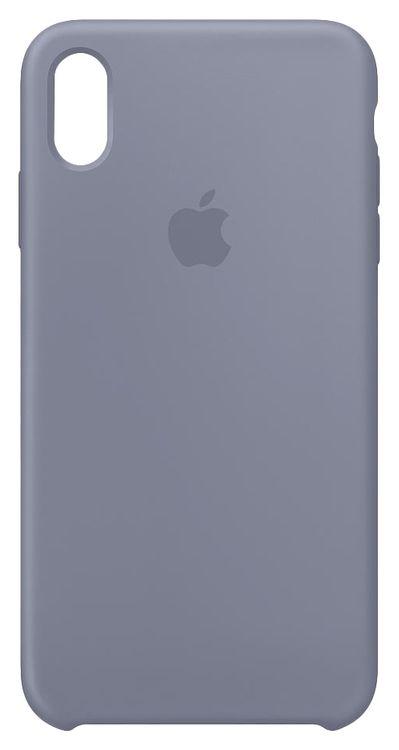 Originalverpackung Apple Silikon Mikrofaser Cover Hülle für iPhone XS Max - lavendelgrau