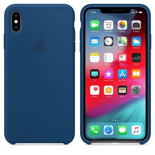 Originalverpackung Apple Silikon Mikrofaser Cover Hülle für iPhone XS Max - horizontblau