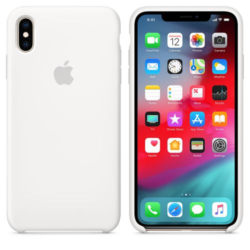 Originalverpackung Apple Silikon Mikrofaser Cover Hülle für iPhone XS Max - weiss