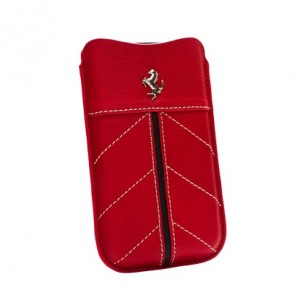 Ferrari Sleeve Handy-Tasche Leder in rot mit Logo iPhone 3G 4/4S HTC
