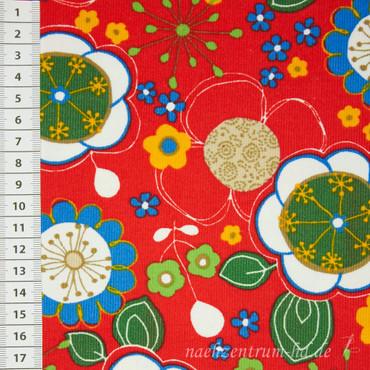 Cord Blumenmuster rot – Bild 1