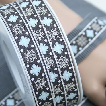 Webband Ornamente silber 16mm – Bild 1