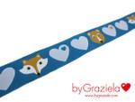 Webband Herzen byGraziela blau mit Fuchs und Bär, 15mm 001