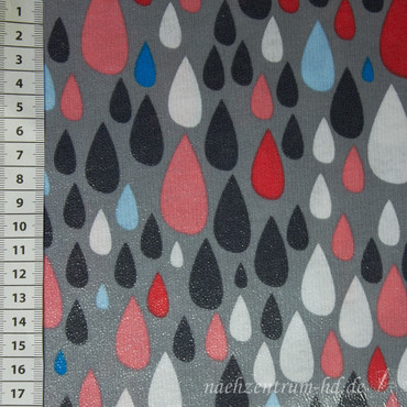 RAIN COAT Dancing in the Rain Tropfen grau pink – Bild 1