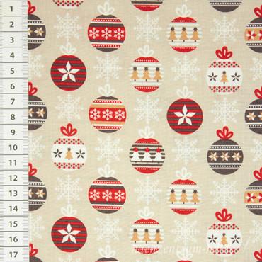 Baumwollstoff Weihnachtskugeln beige