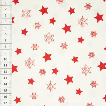 Baumwollstoff Sterne rot / weiß