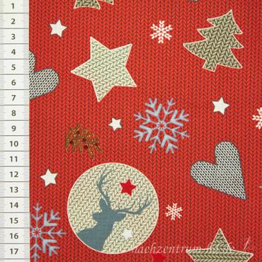 Baumwollstoff Strick Weihnachten rot