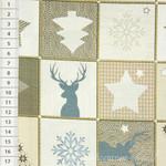 Baumwollstoff Strick Patchwork Weihnachten blau beige  001