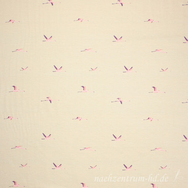 Viskosejersey Flying Flamingo beige