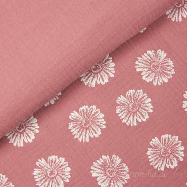 Musselin Double Gauze Blumen rosa – Bild 2